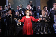 In this April 18, 2012, photo provided by the Houston Grand Opera, Joyce DiDonato performs in the Houston Grand Opera's production of Maria Stuarda, in Houston. Though the role has often been taken by sopranos who dazzle the audience with their high notes, DiDonato performs a lower-voiced alternate version, which can be just as satisfying. (AP Photo/Houston Grand Opera)