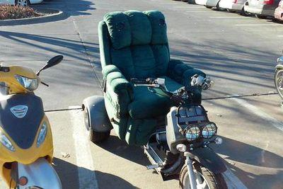 This motorcycle/recliner hybrid is the best vehicle to take to the gym