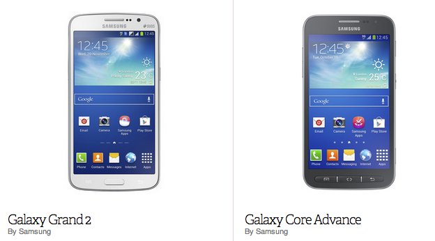 Spec Sheet: Samsung unveils its new low-cost lineup, the Galaxy Grand 2 and Core Advance