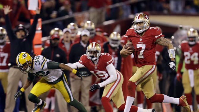 San Francisco 49ers quarterback Colin Kaepernick (7) runs for a 56-yard touchdown against the Green Bay Packers during the third quarter of an NFC divisional playoff NFL football game in San Francisco, Saturday, Jan. 12, 2013. (AP Photo/Marcio Jose Sanchez)