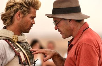 Colin Farrell and director Oliver Stone on the set of Warner Bros. Alexander