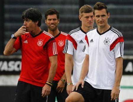 Germany's coach Joachim Loew conducts a training session in Rio de Janeiro