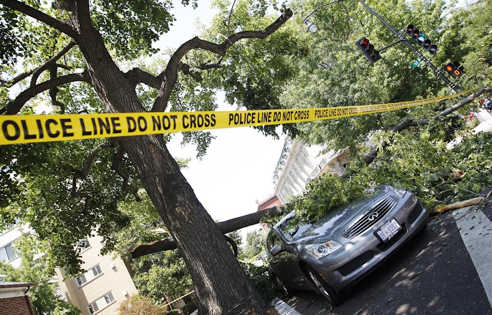 A fallen tree blocks the sidewalk and damages a park vehicle in the Dupont Circle neighborhood of Washington, Saturday, June 30, 2012. Violent evening storms following a day of triple-digit temperatures wiped out power to more than 2 million people across the eastern United States. (AP Photo/Pablo Martinez Monsivais)