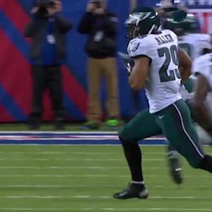 Philadelphia Eagles safety Nate Allen picks off Eli Manning