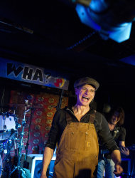 Van Halen members David Lee Roth, left, and Eddie Van Halen perform at Cafe Wha? in New York, Thursday, Jan. 5, 2012. (AP Photo/Charles Sykes)