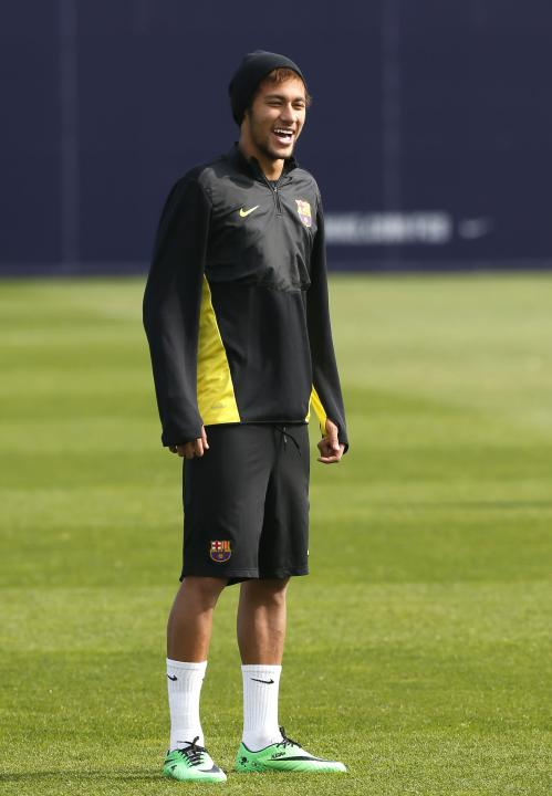Barcelona's Neymar smiles during the training session at Ciutat Esportiva Joan Gamper in Sant Joan Despi ahead of the Champions League last 16 second leg against Manchester City