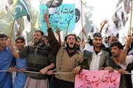 Members of Pakistan's banned Islamist groups including Jamaat-ud-Dawa, Jaish-e-Mohammad and Lashkar-e-Taiba, demonstrate in Kashmir last month against plans to step up trade with India