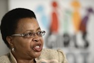"Graca Machel answers questions during a press conference in Johannesburg, on November 6, 2012. Nelson Mandela's wife has thanked the world for its messages of support for the ailing anti-apartheid icon which she said had eased ""the burden of anxiety"""
