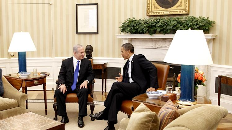 President Barack Obama meets with Israeli Prime Minister Benjamin Netanyahu in the Oval Office at the White House in Washington, Monday, March 5, 2012. (AP Photo/Pablo Martinez Monsivais)