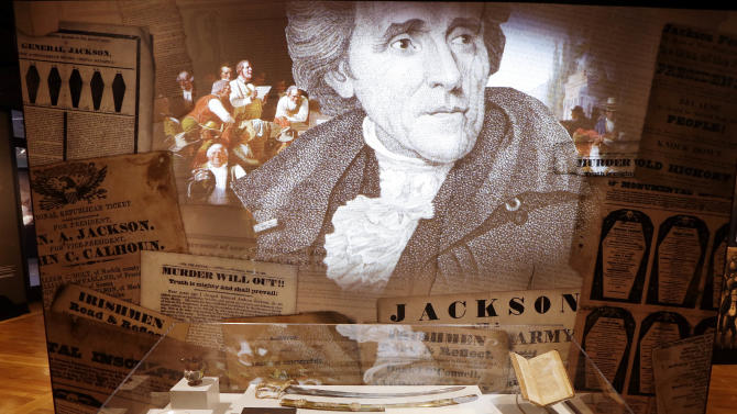 "In this Jan. 7, 2015 photo, items belonging to President Andrew Jackson are displayed in the new ""Andrew Jackson, Born for a Storm"" exhibit in Hermitage, Tenn. The exhibit  coincides with the 200th anniversary of the Battle of New Orleans, in which Jackson won a brilliant victory against the British in the War of 1812. (AP Photo/Mark Humphrey)"