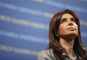 Argentina's President Cristina Fernandez speaks at the 2009 World Leaders Forum at Columbia University in New York