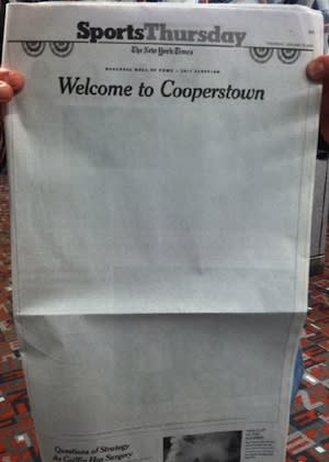 NY Times Prints (Mostly) Blank Sports Page After Baseball Hall of Fame Vote