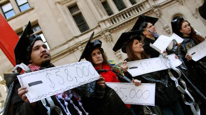 "Protesters take part in an ""Occupy Student Debt"" march in New York in 2011."