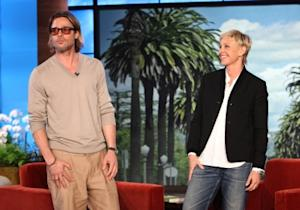 Brad Pitt visits 'The Ellen DeGeneres Show' for an interview on Sept. 21, 2011 -- Warner Bros