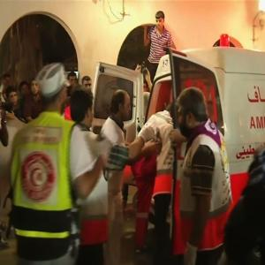 Raw: Wounded Rushed to Hospital in Gaza City
