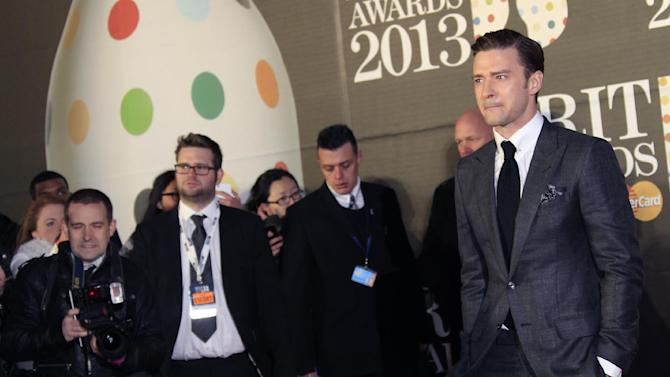Justin Timberlake seen arriving at the BRIT Awards 2013 at the o2 Arena in London on Wednesday, Feb. 20, 2013. (Photo by Joel Ryan/Invision/AP)
