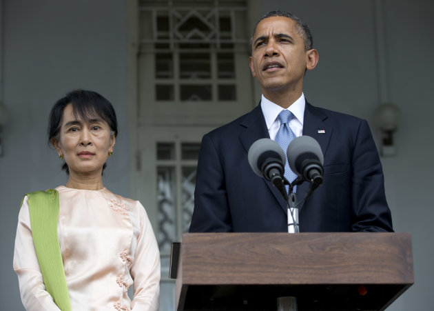 U.S. President Barack Obama and Myanmar opposition leader Aung San Suu Kyi speak to the press at her residence in Yangon, Myanmar, Monday, Nov. 19, 2012. Obama who touched down Monday morning, becomin