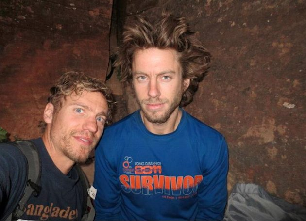 In this July 2012 photo provided by Galit Weiss, climber Gil Weiss, right, and Ben Horne pose for a photo as they climb the Palcaraju Peak in Peru. A search team has reached the base camp and spotted the apparent tracks of the two 29-year-old U.S. mountaineers who have not been heard from since July 11 when they set off to climb the glacier-capped peak in the Cordillera Blanca range of northern Peru. Weiss and Horne are experienced climbers from Boulder, Colorado.