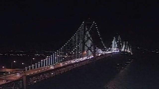 Lights Illuminate Bay Bridge in San Francisco