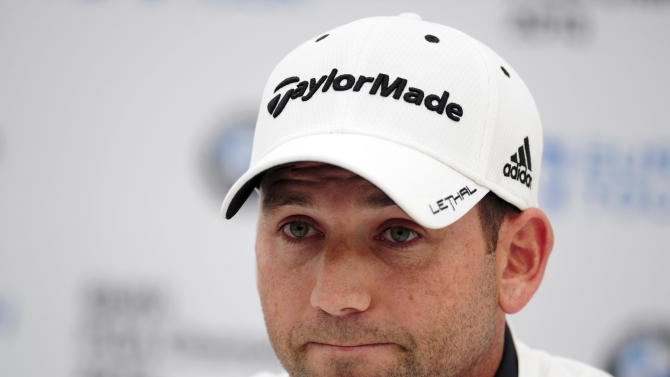 """Spain's Sergio Garcia at a Press Conference during the PRO/AM tournament  at the Wentworth Club, Surrey, England,   Wednesday May 22, 2013. Tiger Woods says the """"fried chicken"""" comment from Sergio Garcia was hurtful and inappropriate. Two weeks after they verbally sparred at The Players Championship, Woods say it's time to move on. Garcia was at a European Tour awards dinner Tuesday night when he was jokingly asked if he would have Woods over for dinner during the U.S. Open. The Spaniard replied, """"We'll have him round every night. We will serve fried chicken."""" (AP Photo/Adam Davy/PA )  UNITED KINGDOM OUT  PHOTOGRAPH"""