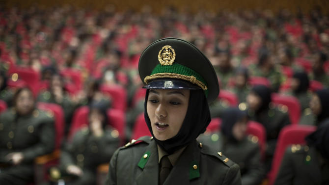 A newly graduated soldier from the Afghan National Army (ANA) attends a graduation ceremony in Kabul