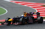 Red Bull Racing's German driver Sebastian Vettel drives at the Circuit de Catalunya