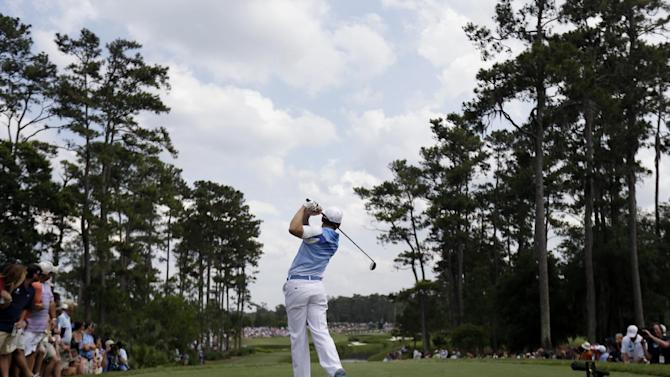 Sergio Garcia, of Spain, hits from the fourth tee during the third round of The Players championship golf tournament at TPC Sawgrass, Saturday, May 11, 2013, in Ponte Vedra Beach, Fla. (AP Photo/Gerald Herbert)