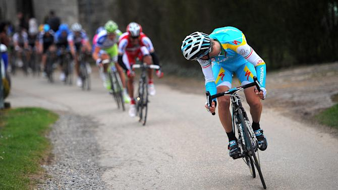 The Italian Astana rider Enrico Gasparotto looks back during the 47th Amstel Gold Race in Beek, The Netherlands on April 15, 2012. AFP PHOTO / ANP / POOL / TIM DE WAELE netherlands out (Photo credit should read TOUSSAINT KLUITERS/AFP/Getty Images)