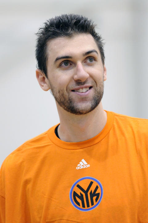New York Knicks' Andrea Bargnani, of Italy, looks on after practice at NBA basketball training camp Tuesday, Oct. 1, 2013, in Greenburgh, N.Y