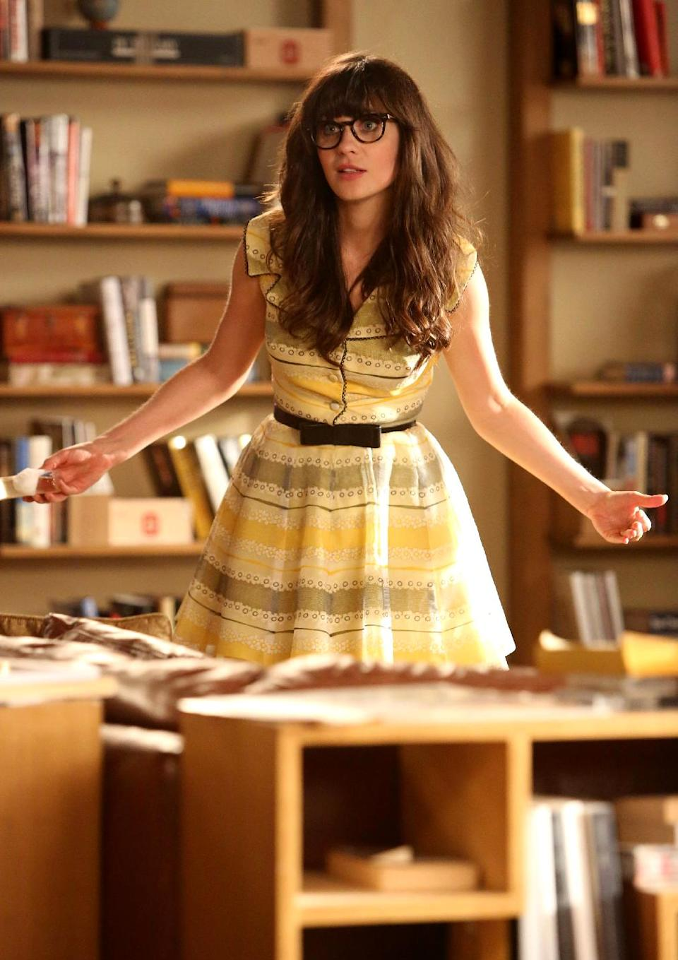 "FILE - This publicity file image released by FOX shows actress Zooey Deschanel in a scene from ""New Girl.""  (AP Photo/FOX, file)"