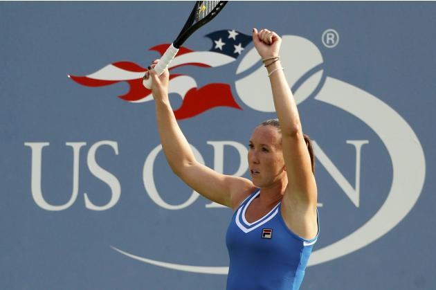 Jankovic of Serbia reacts after defeating Nara of Japan at the U.S. Open tennis championships in New York