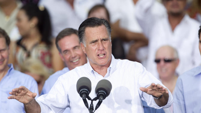 Republican presidential candidate, former Massachusetts Gov. Mitt Romney addresses supporters during a campaign stop in Miami, Monday, Aug. 13, 2012. (AP Photo/J Pat Carter)