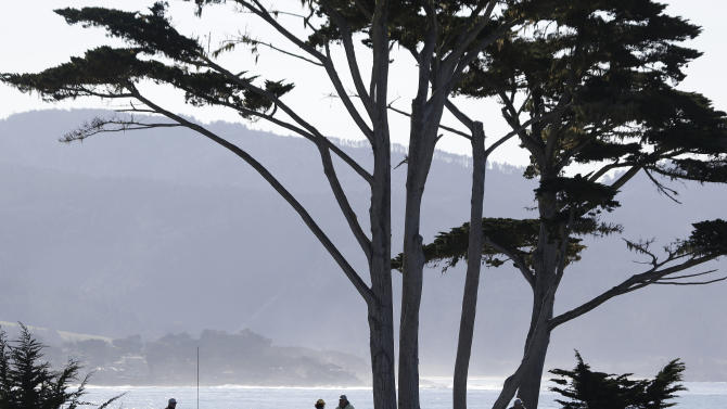 Fans above the fourth tee of the Pebble Beach Golf Links watch a practice round of the AT&T Pebble Beach Pro-Am golf tournament  Wednesday, Feb. 6, 2013 in Pebble Beach, Calif. (AP Photo/Eric Risberg)