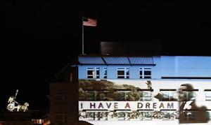 Light installation showing Martin Luther King Jr. is projected on the facade of the U.S. Embassy in Berlin