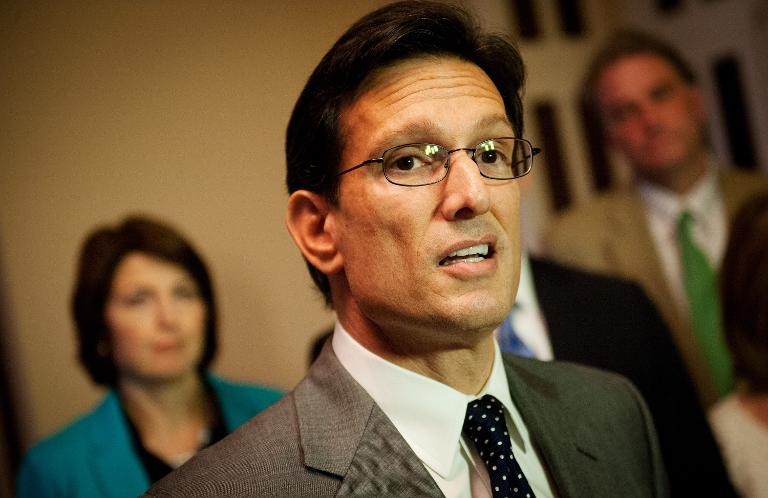 US House Majority Leader Eric Cantor, R-VA, speaks after the House vote on a bill to ensure back pay for furloughed goverment workers on October 5, 2013 at the US Capitol in Washington, DC