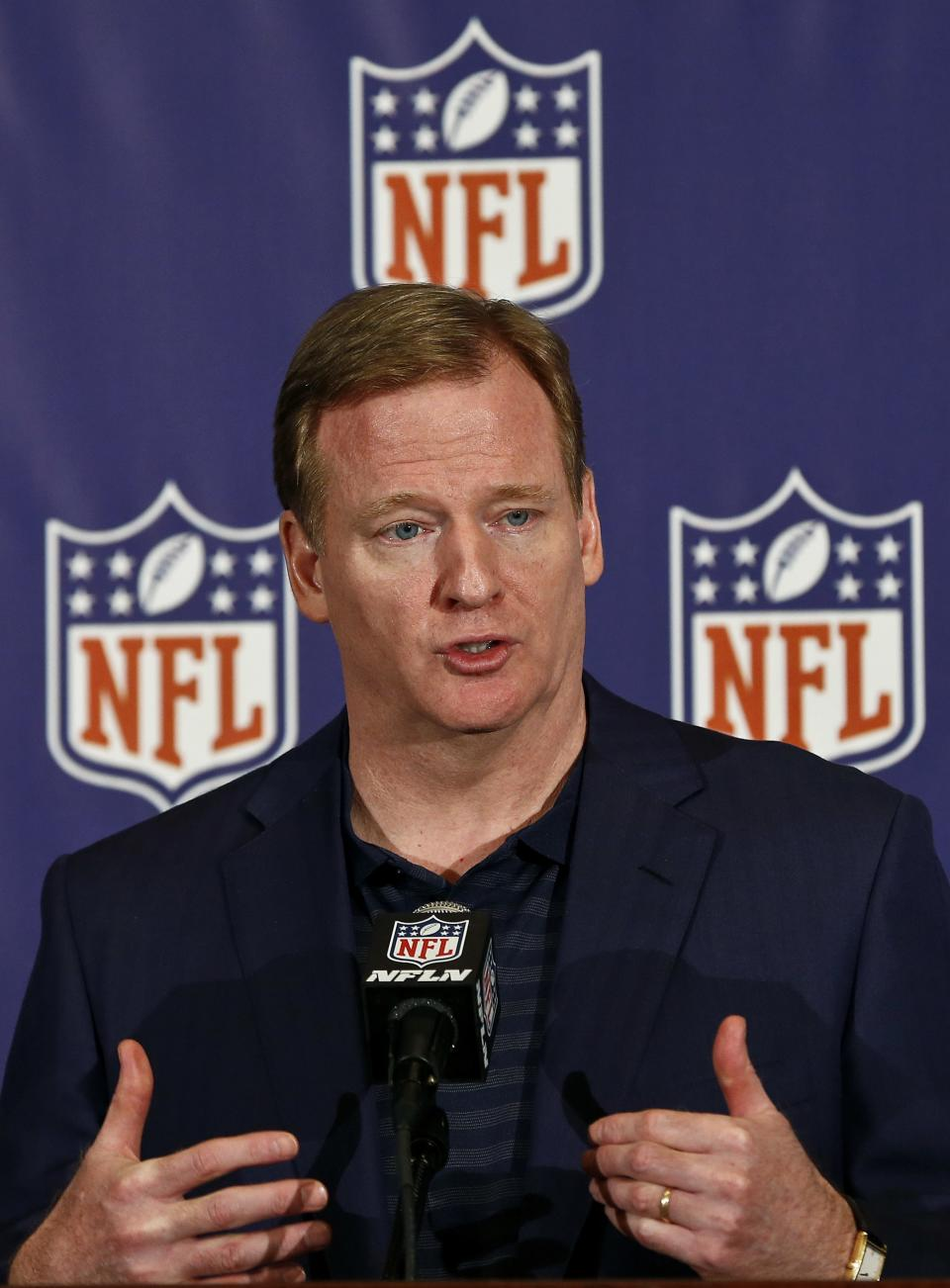 NFL Commissioner Roger Goodell answers a question from the media during a news conference at the annual NFL football meetings at the Arizona Biltmore, Wednesday, March 20, 2013, in Phoenix. (AP Photo/Ross D. Franklin)