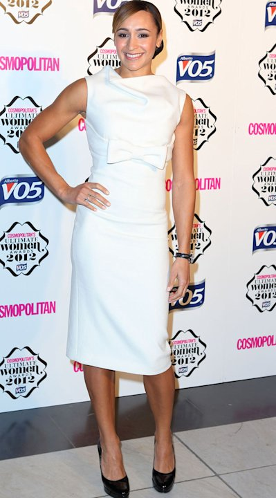 Olympic athlete Jessica Ennis showed off her toned physique in a white dress with bow motif. Stunning. Copyright [Getty]