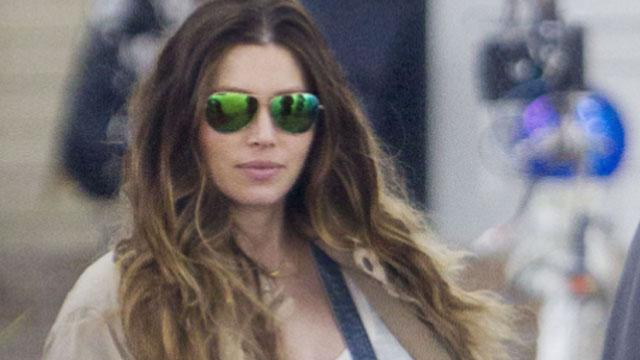 Jessica Biel's Baby Bump Is Busting Out of Her Denim Overalls
