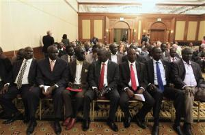 Members of South Sudan rebel delegation attend opening ceremony of South Sudan's negotiation in Addis Ababa