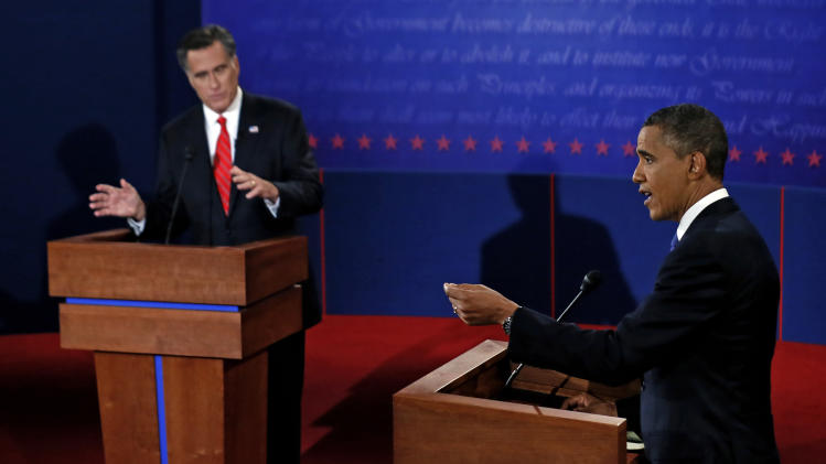 President Barack Obama and Republican presidential nominee Mitt Romney participate in the first presidential debate at the University of Denver, Wednesday, Oct. 3, 2012, in Denver. (AP Photo/Pool, Rick Wilking)