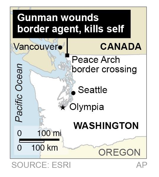 Map shows Peace Arch border crossing on the US-Canada border, where a gunman wounds a border agent, kills self.