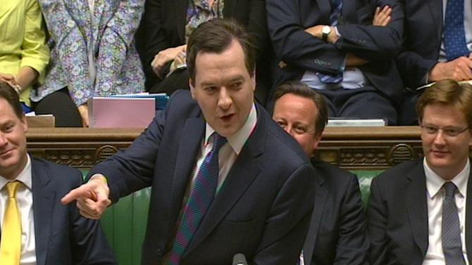 In this image taken from TV Britain's Chancellor of the Exchequer George Osborne speaks in the House of Commons in London, Wednesday June 26, 2013. George Osborne is set to announce billions of pounds in spending cuts as the cash-strapped nation tries to make ends meet. (AP Photo/PA) UNITED KINGDOM OUT NO SALES NO ARCHIVE