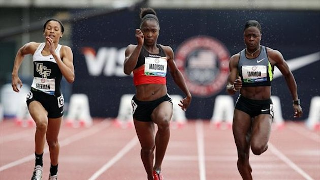 Octavious Freeman, Tianna Madison and Jeneba Tarmoh at the US trials in Oregon (AFP)