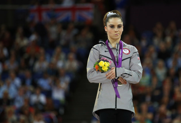 August 5 McKayla Maroney of the U.S. celebrates with her silver medal in the women's vault victory ceremony in the North Greenwich Arena during the London 2012 Olympic Games