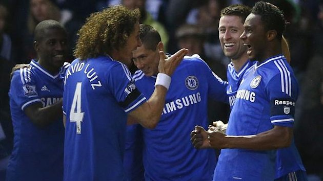 Chelsea's Jon Mikel Obi (R) celebrates his goal against Derby County with (from L) Ramires, David Luiz, Fernando Torres and Gary Cahill (Reuters)