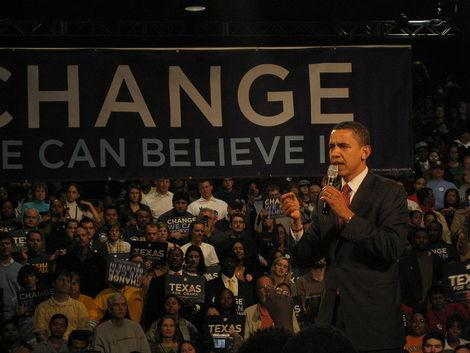 Barack Obama speaking in Houston, Texas