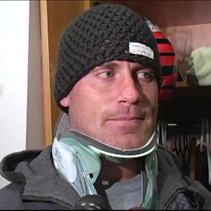 Kevin Huber talks about injury in neck brace