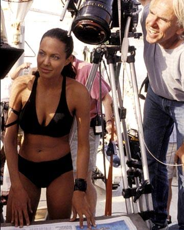 Angelina Jolie and director Jan De Bont on the set of Paramount's Lara Croft Tomb Raider: The Cradle of Life