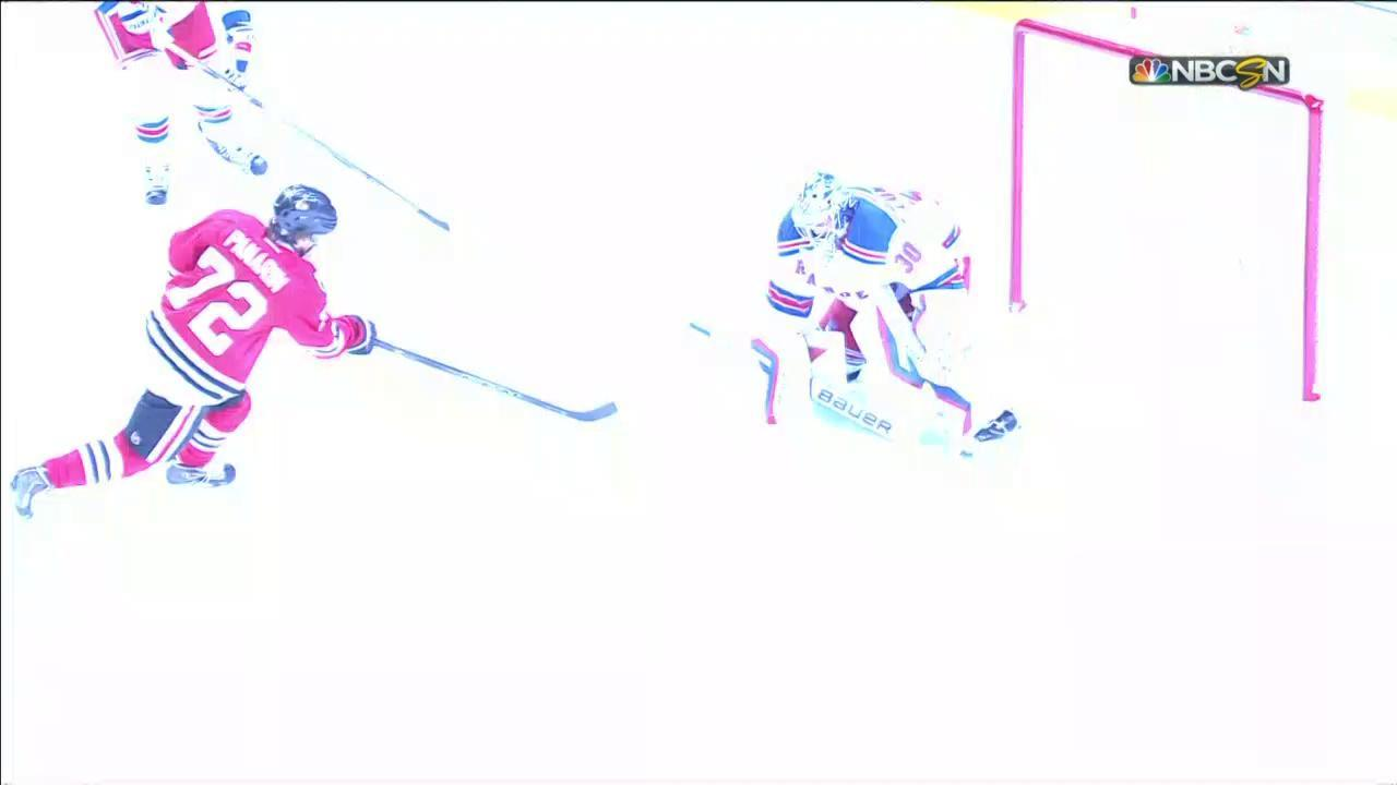 Panarin evens score on first NHL goal