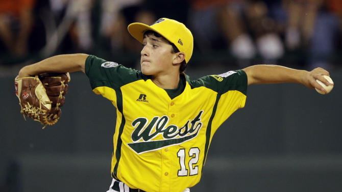 Petaluma, Calif.'s Danny Marzo pitches in the third inning of a baseball game against San Antonio, Texas at the Little League World Series, Thursday, Aug. 23, 2012, in South Williamsport, Pa. Petaluma won 11-1. (AP Photo/Matt Slocum)